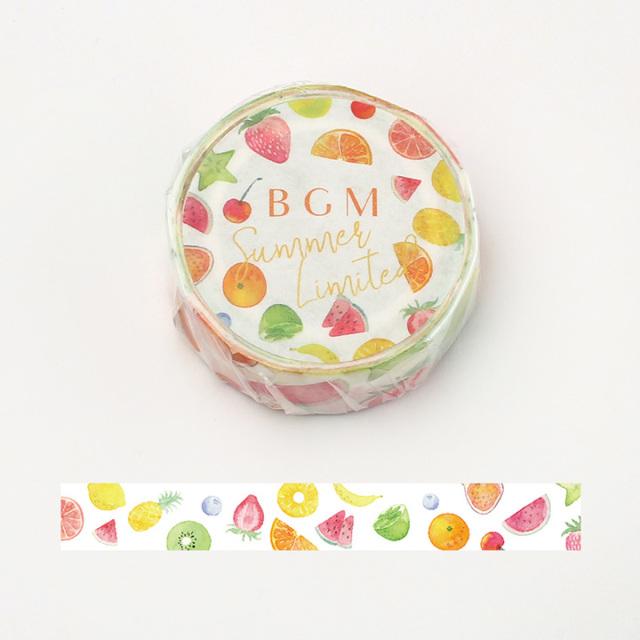 【夏限定2020】BGMマスキングテープ 15mm 夏・フルーツ(BM-SPLN013)【ネコポスOK】