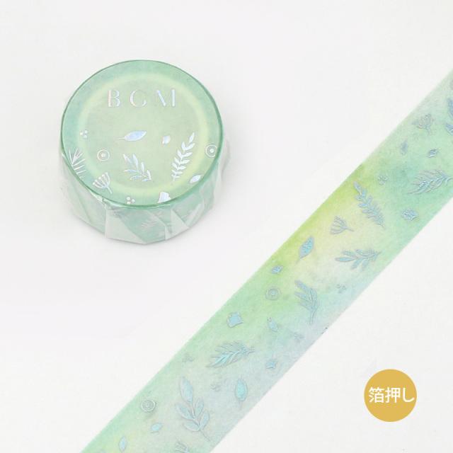 BGMマスキングテープ 箔押し20mm 緑色リーフ(BM-SPMG003)【ネコポスOK】