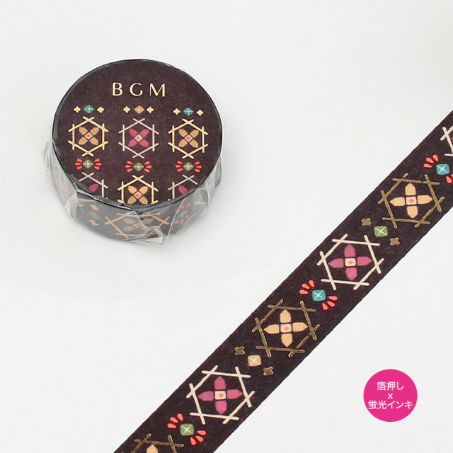 BGMマスキングテープ 箔押し15mm 織物(BM-SPND005)【ネコポスOK】
