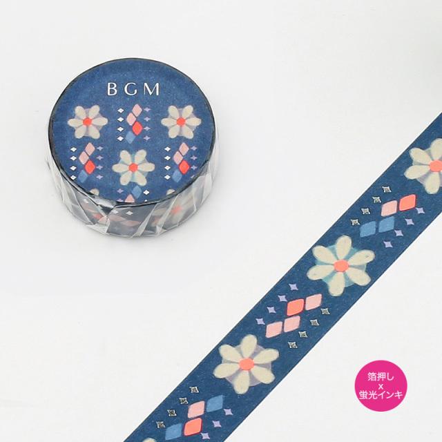 《ご予約商品・18日より順次発送》BGMマスキングテープ 箔押し15mm 和の花(BM-SPND006)【ネコポスOK】