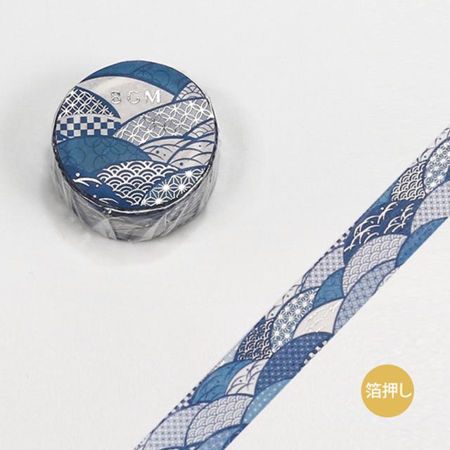 BGMマスキングテープ スペシャル 箔押し 大和物語 波紋(BM-SPYMT001)【ネコポスOK】