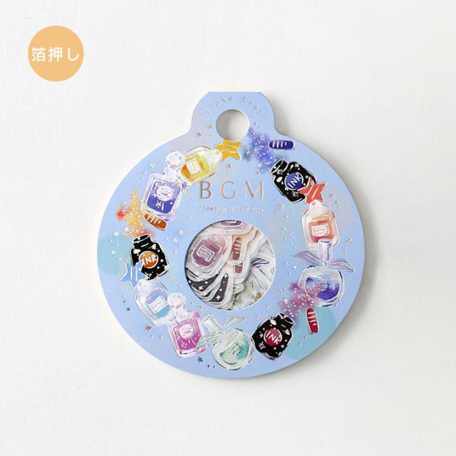 BGMフレークシール 箔押し 瓶・リース(BS-FG061)【ネコポスOK】