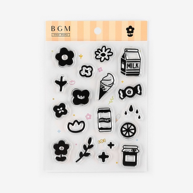 BGMクリアスタンプ 花と飲み物(BT-CS018)【ネコポスOK】