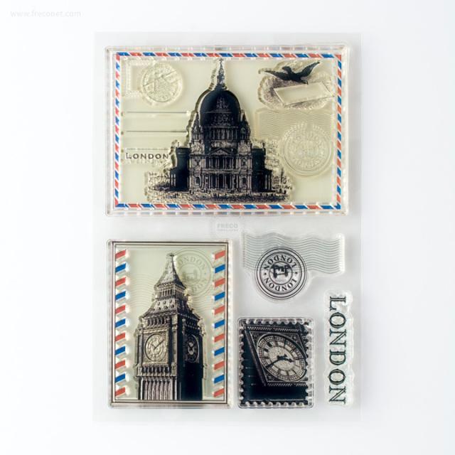 クリアスタンプ ロンドンのポストカード【ネコポスOK】