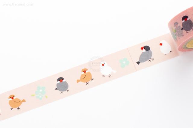 ふわりマスキングテープ 文鳥(FW47018)【ネコポスOK】