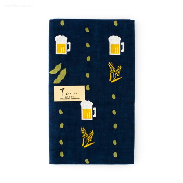 濱文様 捺染てぬぐい ビールに枝豆(12898)【ネコポスOK】