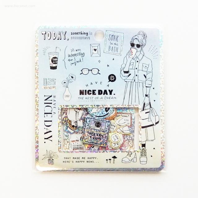 キラキラホログラムフレークシール NICE DAY(04223)【ネコポスOK】