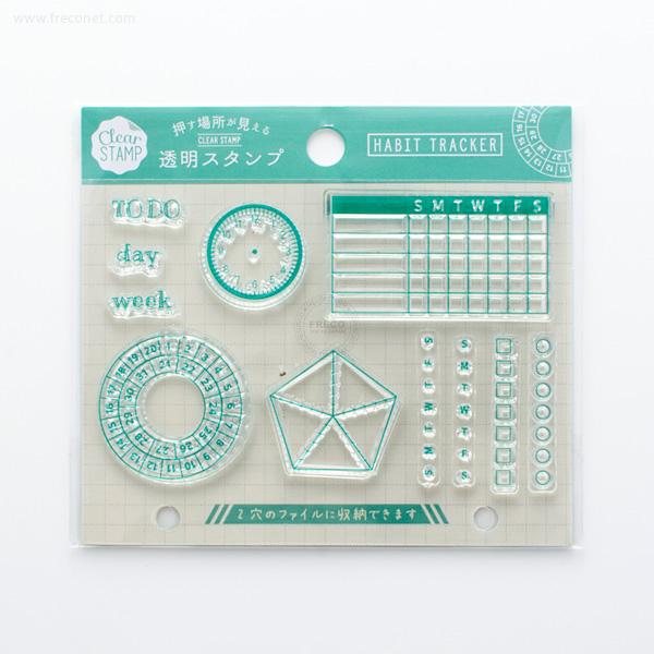 手帳スタンプ こどものかお クリアスタンプシートJ HABIT TRACKER(0979-002)【ネコポスOK】