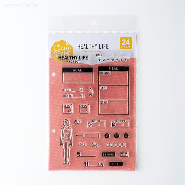 手帳スタンプ こどものかお クリアスタンプシートT HEALTHY LIFE(0980-023)【ネコポスOK】