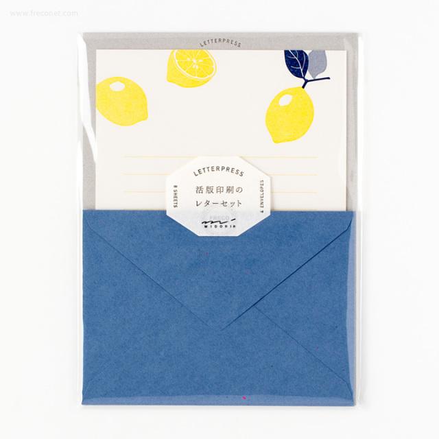 活版印刷のレターセット レモン柄(86476-006)【ネコポスOK】
