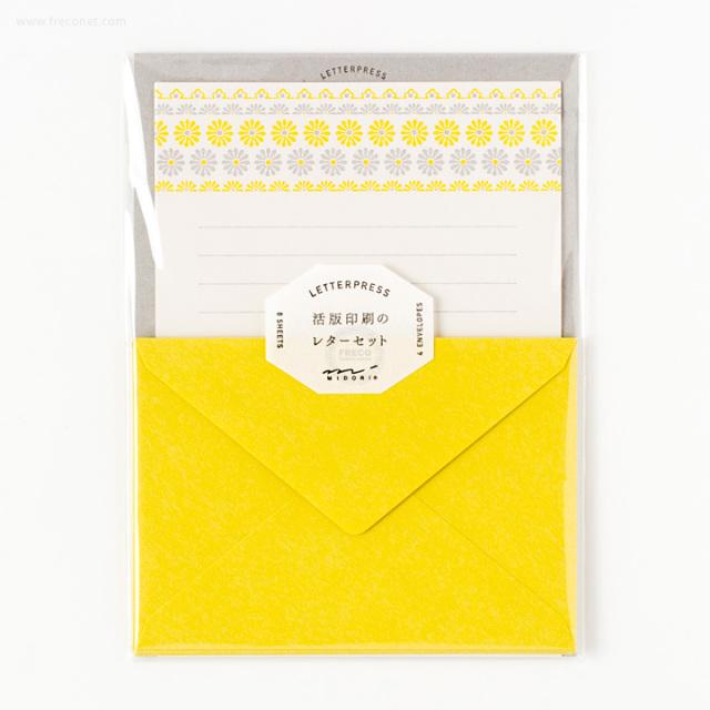 活版印刷のレターセット 花ライン柄 黄(86477-006)【ネコポスOK】