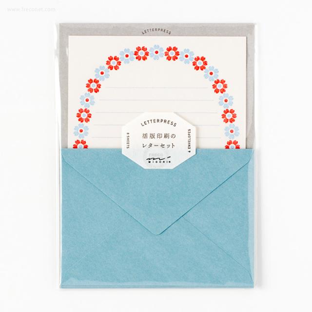 活版印刷のレターセット 花フレーム柄 水色(86478-006)【ネコポスOK】
