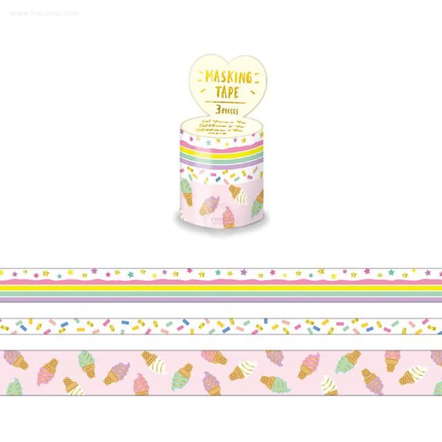 箔押しマスキングテープアソート3巻セット Yum yum yummy(94133)【ネコポスOK】