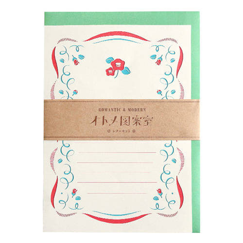 オトメ図案室 レターセット 唐草ツバキ(OT-008)【ネコポスOK】