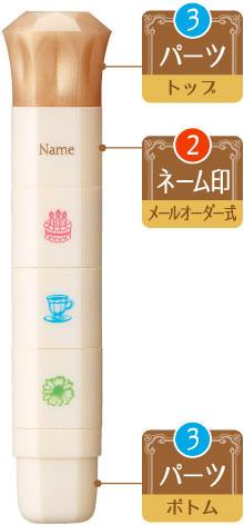 シヤチハタ ポンプラン ネーム印 パーツ<トップ&ボトム>付き メールオーダー式(PER-A/MO)【ネコポスOK】