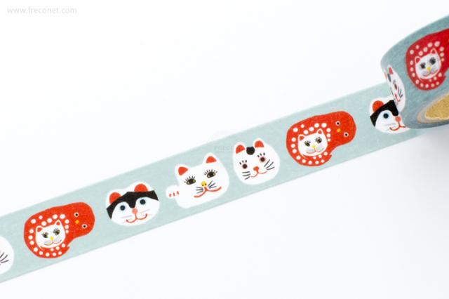 古川紙工マスキングテープ 和にゃんこ かおネコ(QMT14)【クロネコDM便OK】