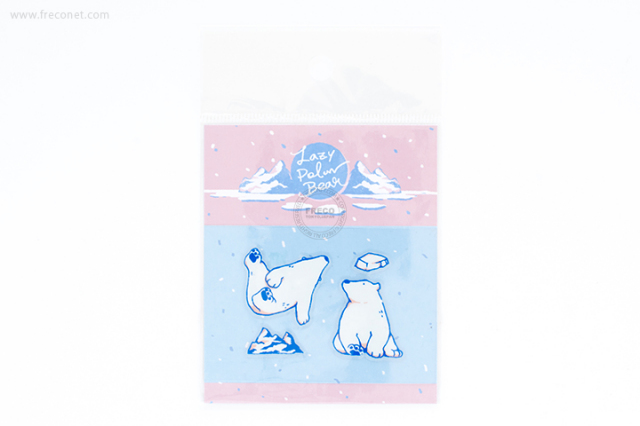 OURS 透明シール Lazy Polar Bear #1(S01_K01)【ネコポスOK】