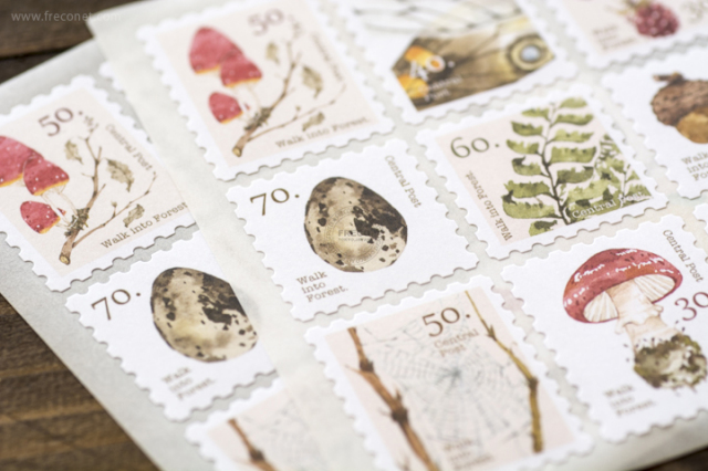 OURS 森林好朋友 切手型封緘シール キノコ【ネコポスOK】