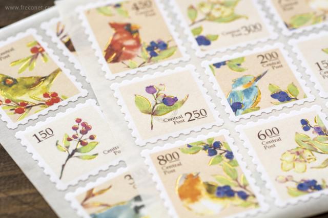 OURS 森林好朋友 切手型封緘シール 鳥【ネコポスOK】