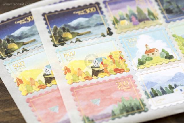OURS 森林好朋友 切手型封緘シール 風景【ネコポスOK】