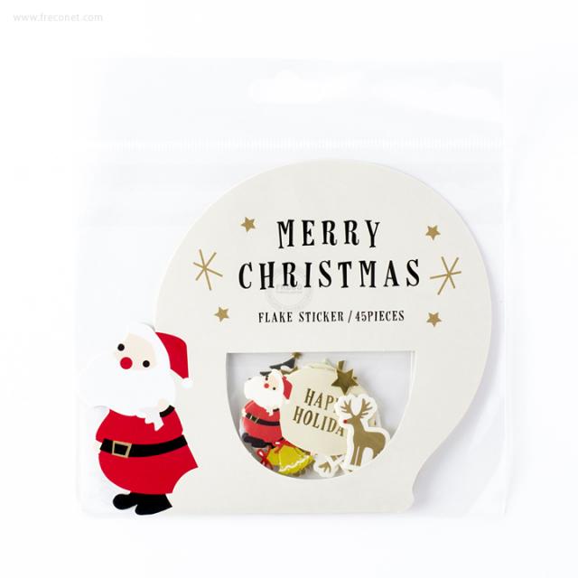 クリスマスフレークステッカー サンタ(STK-XM33-A)【ネコポスOK】