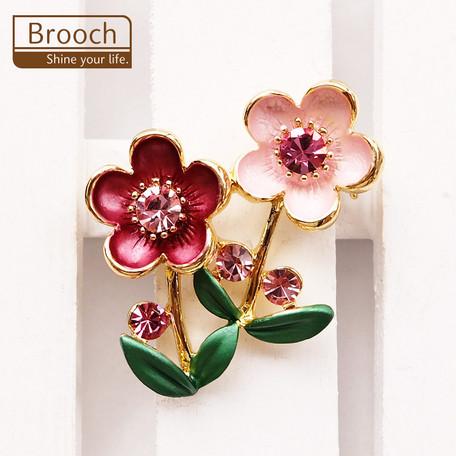 ブローチ 花ピンク【ネコポスOK】