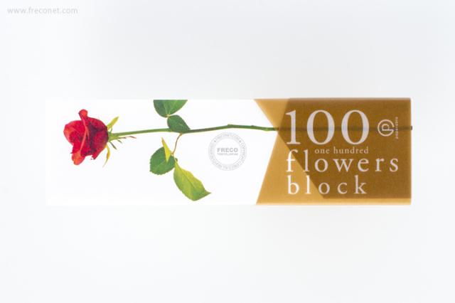 100 flowers block メモブロック帳 ローズレッド(YKP90-0751)【クロネコDM便OK】
