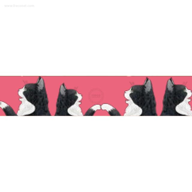 ペパラブルマスキングテープ アニマル 猫・シロクロ(YKP90-3387)【ネコポスOK】