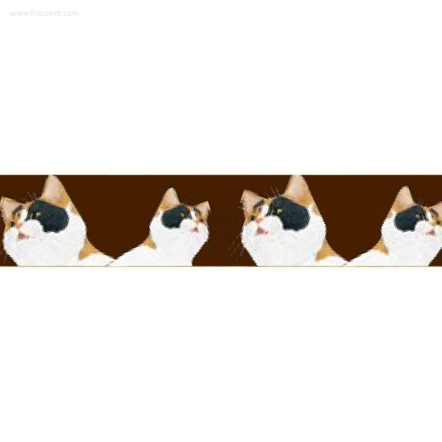 ペパラブルマスキングテープ アニマル 猫・ミケ(YKP90-3547)【ネコポスOK】