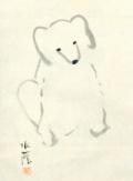 江見水蔭 雪中子犬図