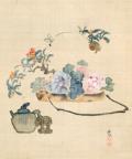 春木南溟 盆花図