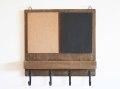 黒板&コルクボード フック付き / 壁掛け ウォールフック コルクボード 黒板 ブラックボード メッセージボード カントリー 北欧 アンティーク