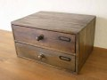 ミニチェスト2段 / 収納 書類棚 整理棚 木製 チェスト A4クリアホルダー ボックス アンティーク カントリー 北欧 レトロ