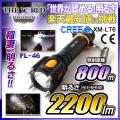 懐中電灯 LED懐中電灯 LEDライト 2200lm相当 ハンディライト FL-046 THE WORLDライト 世界の軍事用ライト fl-s016 【電池・充電器セット】