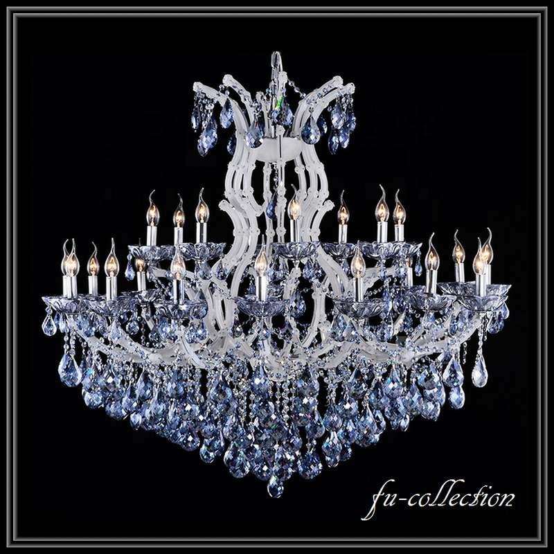 クリスタルシャンデリア マリアテレジア 24灯  ブルークリスタル ホワイトガラス 4WLED電球付   cha-FH24MABLWH  送料無料