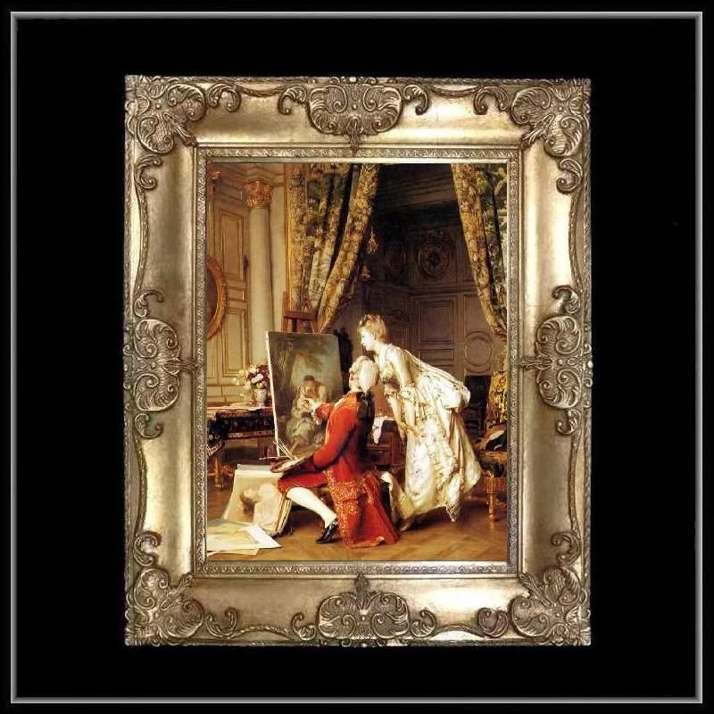 ロココ調 ゴールドダブルフレーム 貴族の額絵 キャンバス印刷 Sサイズ45/55cm  Mサイズ55cm/65cm  2  送料無料