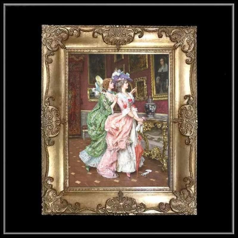 ロココ調 ゴールドダブルフレーム 貴族の額絵 キャンバス印刷 Sサイズ45/55cm  Mサイズ55cm/65cm  3  送料無料