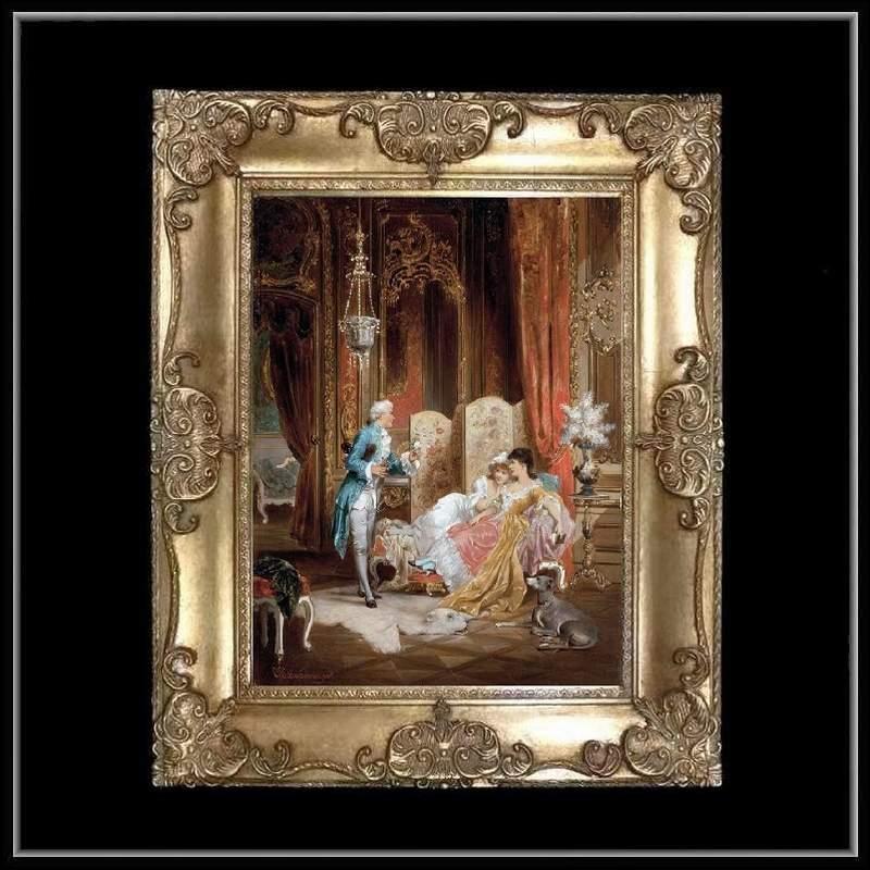 ロココ調 ゴールドダブルフレーム 貴族の額絵 キャンバス印刷 Sサイズ45/55cm  Mサイズ55cm/65cm  40  送料無料