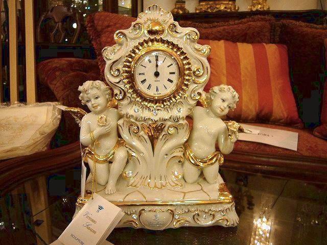 イタリア製 セラミック 天使置き時計