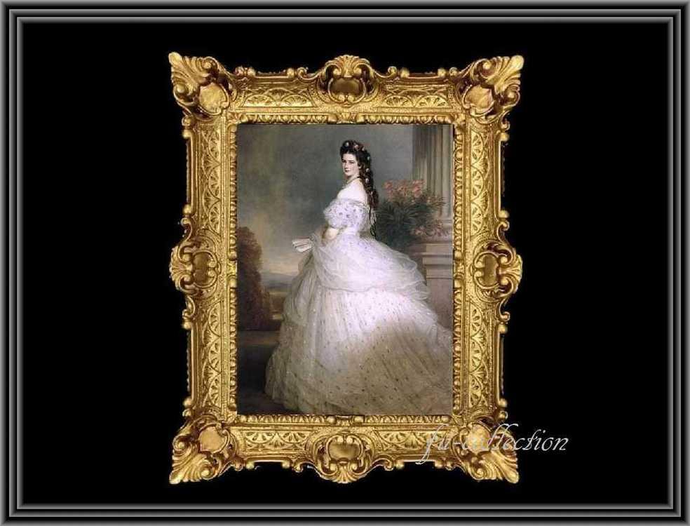 ヨーロッパ名画 エリザベート肖像画  イタリアロココフレーム キャンバス印刷 アクリル付 56×46 eriz-2  送料無料