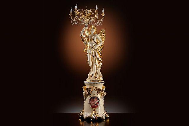イタリア製 高級セラミック 天女像 フロアランプ ロココ調 エンジェル 送料無料