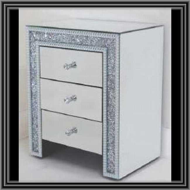 ミラード・ファニチャー 3段チェスト 装飾バージョン 鏡張り家具 送料無料