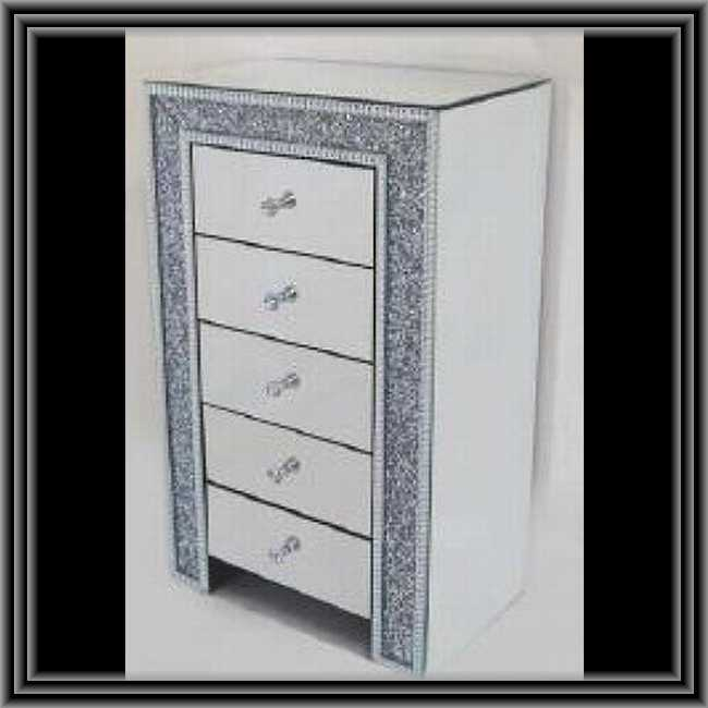 ミラード・ファニチャー 5段チェスト 装飾バージョン 鏡張り家具 送料無料