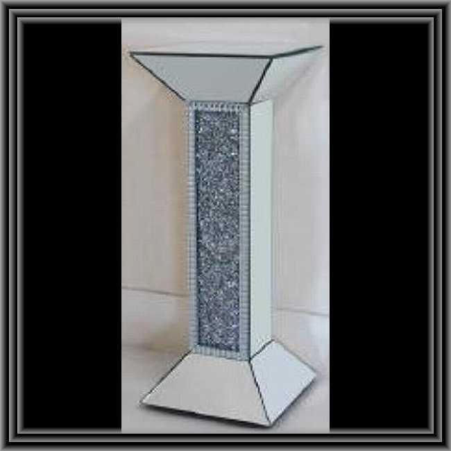 ミラード・ファニチャー コラム 1面デザインタイプ 鏡張り ディスプレイ台 フラワースタンド  送料無料