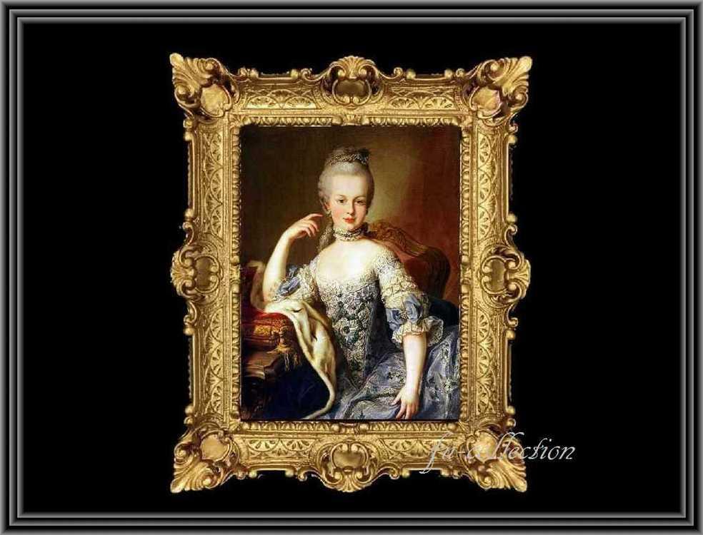 ヨーロッパ名画 マリーアントワネット肖像画  イタリアロココフレーム キャンバス印刷 アクリル付 56×46 may1  送料無料