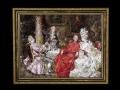 ヨーロッパ絵画 貴族・貴婦人 691S 58×46  ロココ額絵  送料無料