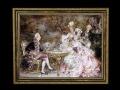ヨーロッパ絵画 貴族・貴婦人 692S 58×46  ロココ額絵  送料無料