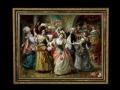 ヨーロッパ絵画 貴族・貴婦人 舞踏会  925S 58×46  ロココ額絵  送料無料