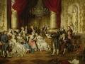 ヨーロッパ絵画 貴族・貴婦人 334L 98×78  ロココ額絵  送料無料