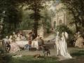 ヨーロッパ絵画 貴族・貴婦人 336L 98×78  ロココ額絵  送料無料